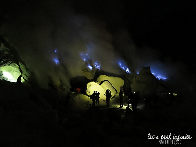 People watching the blue fire at Kawah Ijen