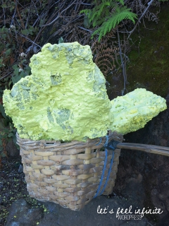 Panier de soufre extrait de Kawah Ijen