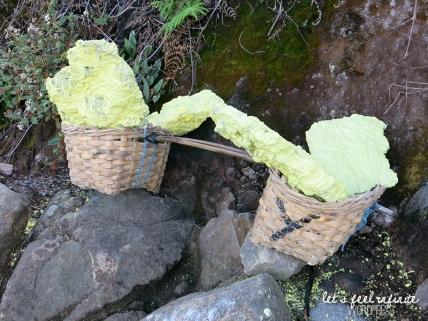 Panier de soufre provenant de Kawah Ijen